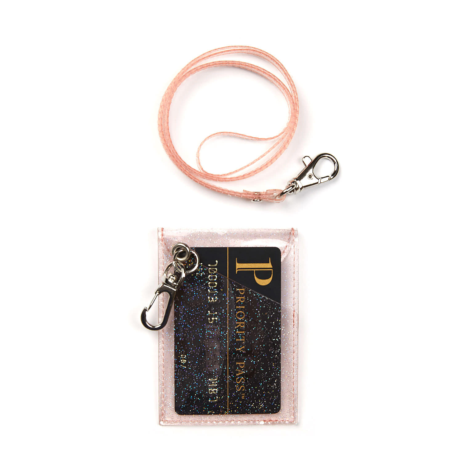 GLITTER CARD WALLET / PEACH