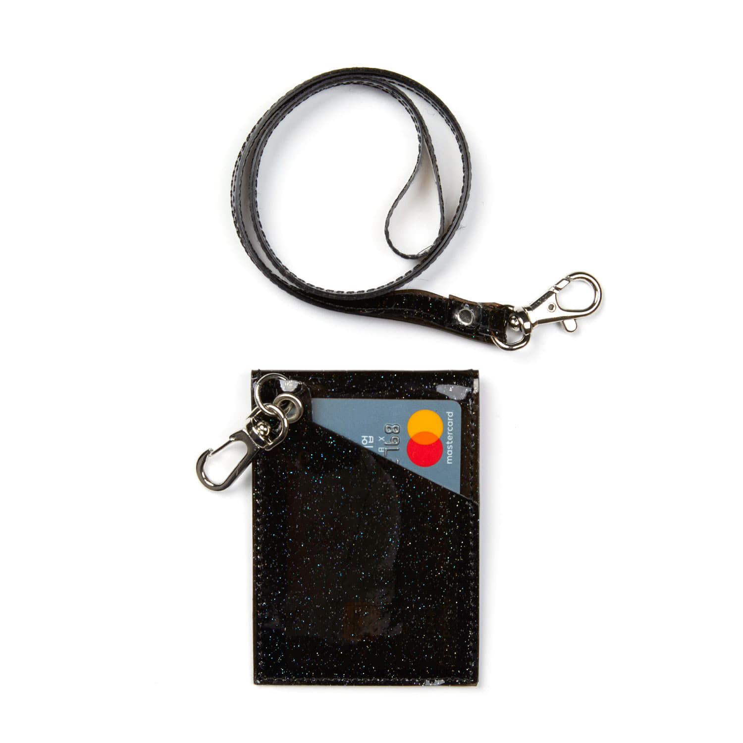 GLITTER CARD WALLET / BLACK